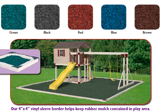 Rubber Mulch Installation for Vinyl Swingsets
