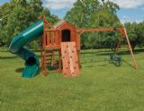 Wood Playset Cabinette & Turbo Slide Tower, Rockwall