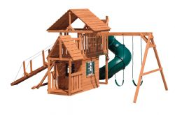 Wood Playset Climbing Tower, Hideout, Gangplank, Turbo Slide