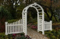 Nantucket Deluxe Arbor, with Cottage Picket Wings