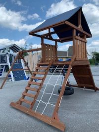 Wood Playset, Climbing Tower w/ Dark Redwood Stain - SOLD