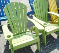 Poly FOLDING Fanback Chairs with Cup Holder, LIME GREEN