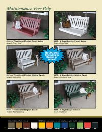 Traditional English Porch Swing 4-Ft, Poly Lumber, MULTIPLE COLORS - SHIPPING INCLUDED!