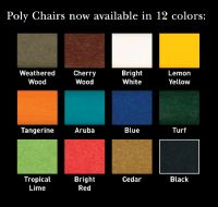 FOLDING Fanback Adirondack Chair with Cupholders, #881E, Poly Lumber, MULTIPLE COLORS - SHIPPING INCLUDED!